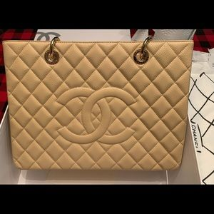 chanel caviar quilted grand shopping tote tan